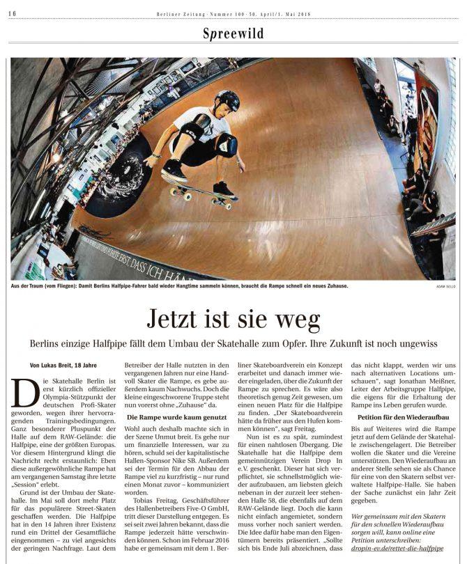 Die Berliner Zeitung schreibt: Jetzt ist sie weg